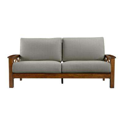 Virginia Dove Gray Linen X Design Sofa with Exposed Cherry Wood Frame