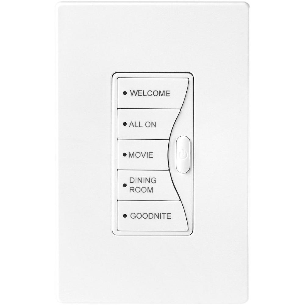 Aspire 5 Amp 120-Volt RF Wall Mount 5-Scene LED Keypad Rocker Switch, White Satin