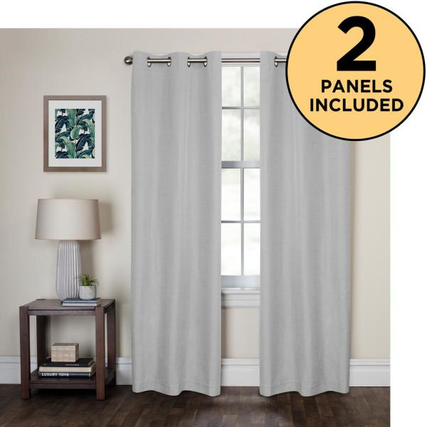 zenna home smart curtains kelsey light zero 100 blackout window panels 40 in x 84 in package of 2 panels in smoke white 5756y2p40x84wht the home depot usd