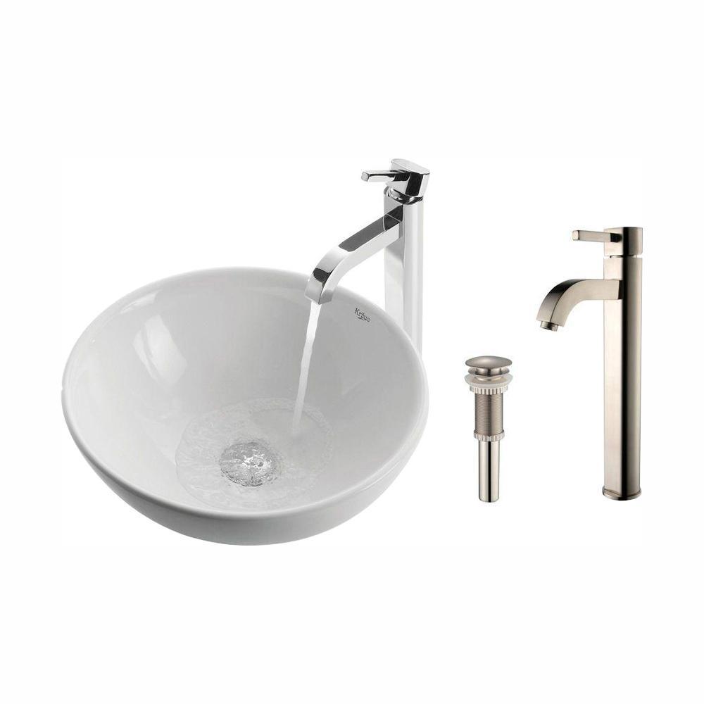 Soft Round Ceramic Vessel Sink in White with Ramus Faucet in Satin Nickel