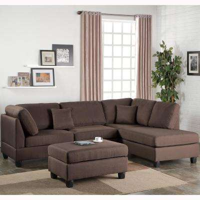 Madrid 3 Piece Chocolate Reversible Sectional Sofa With Ottoman