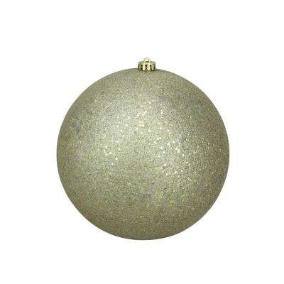10 in. (250 mm) Gold Commercial Shatterproof Holographic Glitter Christmas Ball Ornament