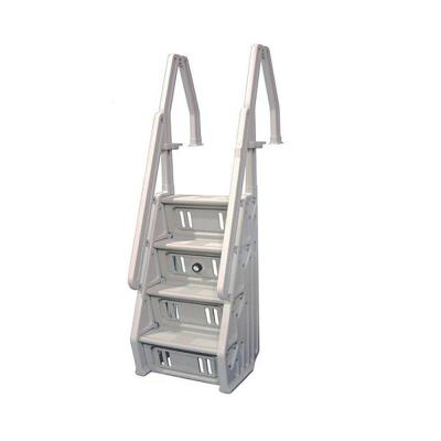 Deluxe 32 in. Adjustable In Step Ladder for Above Ground Pool in White