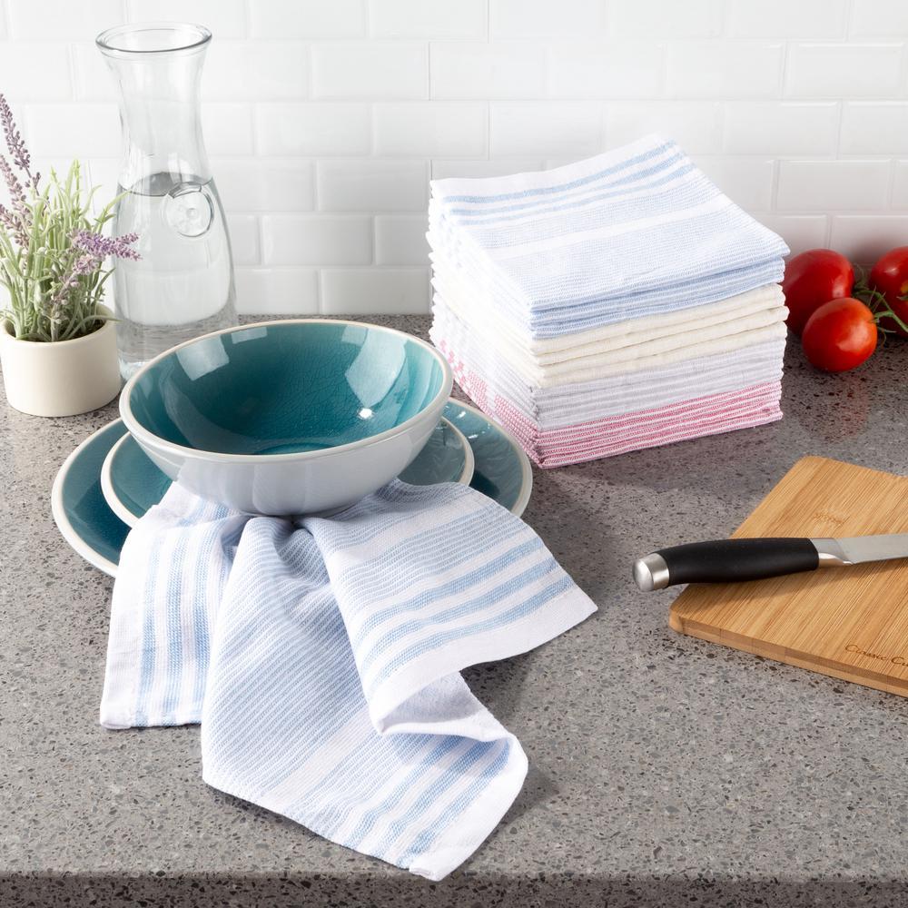 Multi-Color Farmhouse Stripe Weave Cotton Kitchen Dish Cloth Set (16-Pieces)