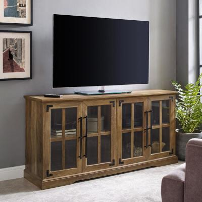 58 in. Reclaimed Barnwood Composite TV Stand Fits TVs Up to 64 in. with Storage Doors