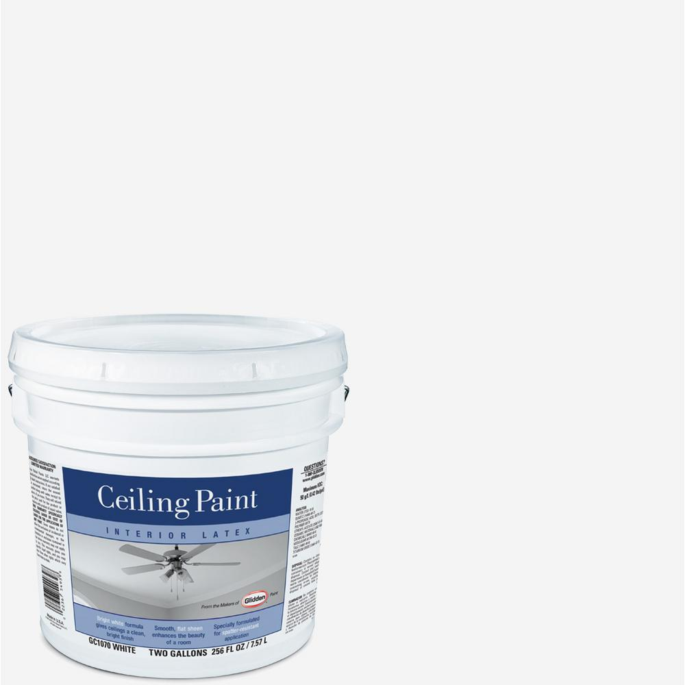 Glidden Ceiling 2 gal. Bright White Interior Flat Ceiling Paint ...