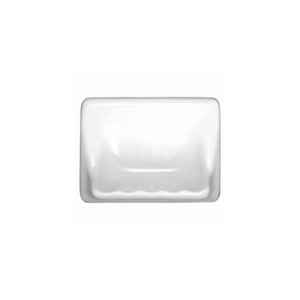 Daltile Bathroom Accessories White 4-3/4 in. x 6-3/8 in. Wall Mount Ceramic Soap Dish