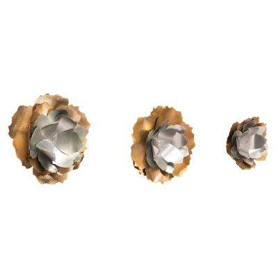 Metal Set of 3 Wall Flowers Wall Decor