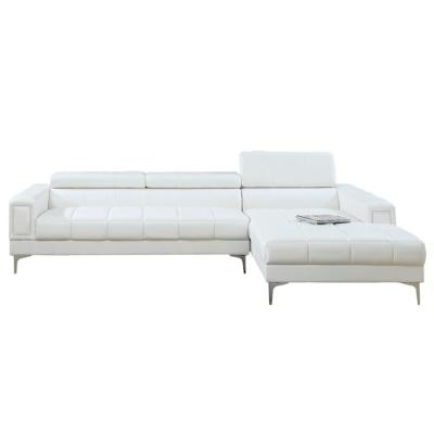 2-Piece White Leather 6-Seater L-Shaped Sectional Sofa with Metal Legs