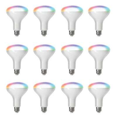 65-Watt Equivalent BR30 Dimmable Full Color Changing Wi-Fi LED Smart Light Bulb (12-Pack)