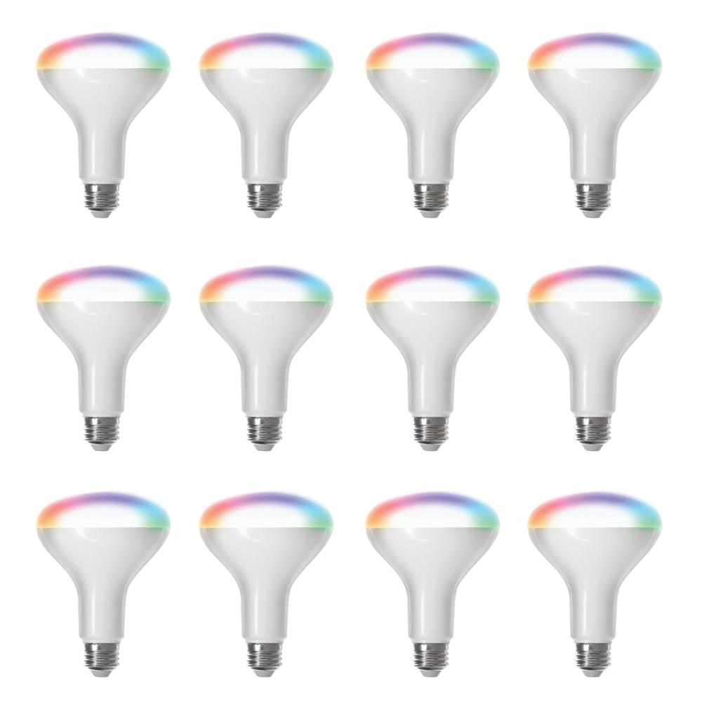 Feit Electric 65-Watt Equivalent BR30 Dimmable Full Color Changing Wi-Fi LED Smart Light Bulb (12-Pack)