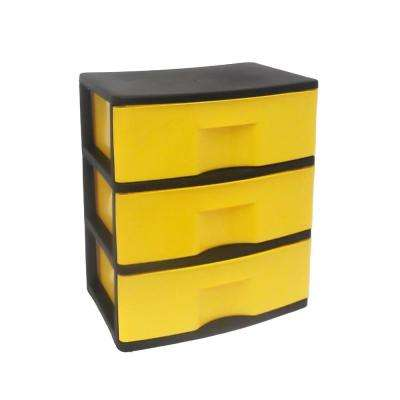 3 Drawer Wide Plastic Cart with Casters in Black and Yellow