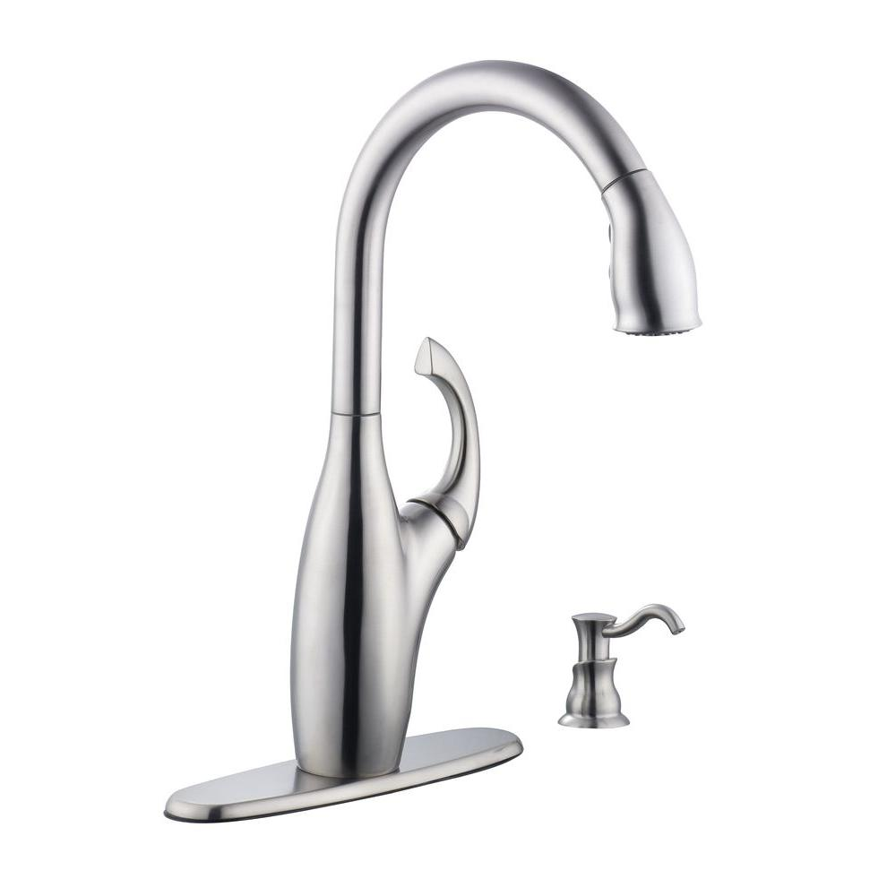Schon Contemporary Single Handle Pull Down Sprayer Kitchen Faucet With Soap Dispenser In