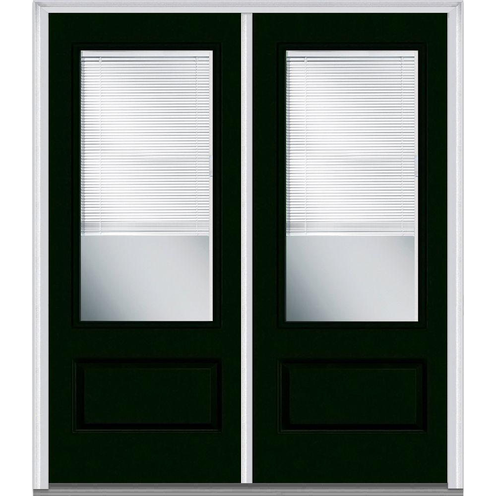 MMI Door 72 in. x 80 in. Internal Blinds Right-Hand Inswing 3/4-Lite 1-Panel Clear Painted Fiberglass Smooth Prehung Front Door