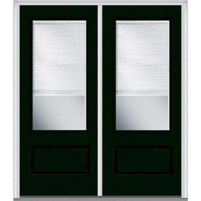 72 in. x 80 in. Internal Blinds Right-Hand Inswing 3/4-Lite 1-Panel Clear Painted Fiberglass Smooth Prehung Front Door