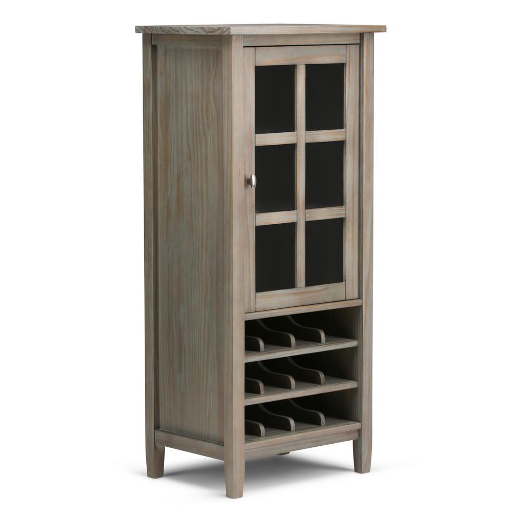 Simpli Home Warm Shaker 12-Bottle Solid Wood 23 in. Wide Rustic High Storage Wine Rack in Distressed Grey