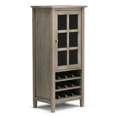 Warm Shaker 12-Bottle Solid Wood 23 in. Wide Rustic High Storage Wine Rack in Distressed Grey