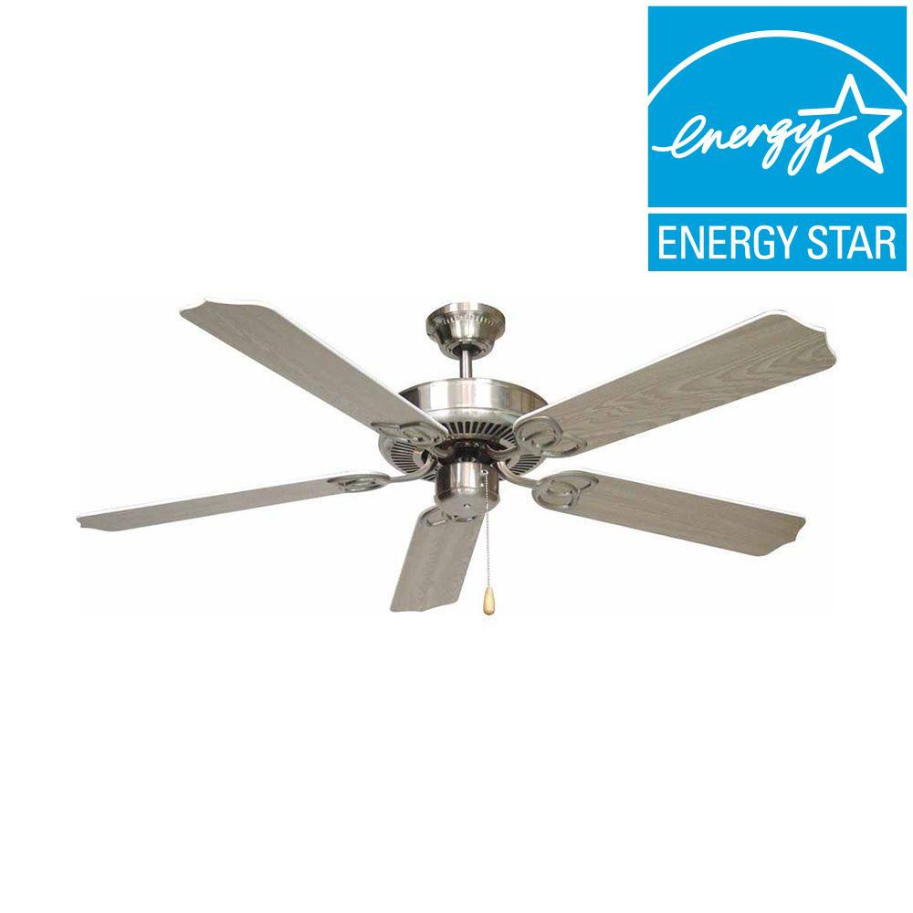 Indoor Brushed Nickel Ceiling Fan with Light Kit AL420 BN   The Home Depot. Hampton Bay Larson 52 in  Indoor Brushed Nickel Ceiling Fan with