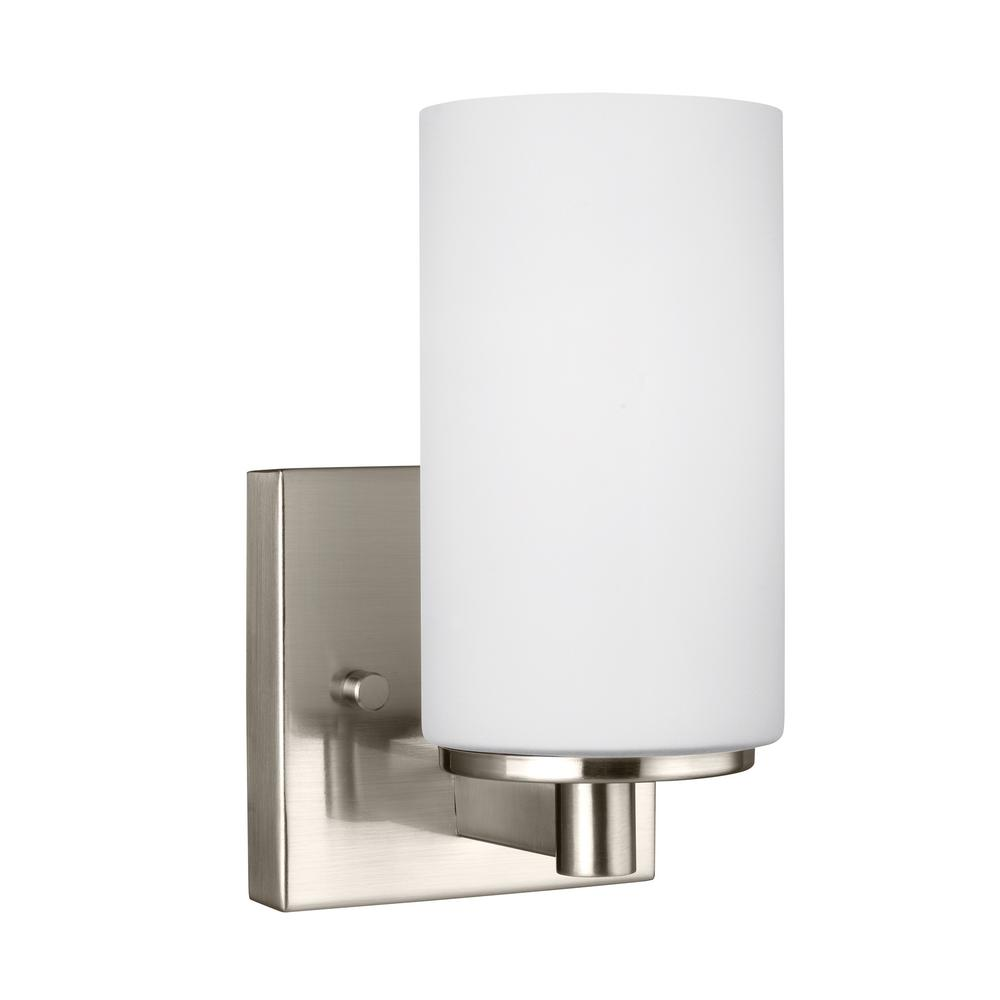 Sea Gull Lighting Hettinger 1 Light Brushed Nickel Sconce 4139101en 962 The Home Depot