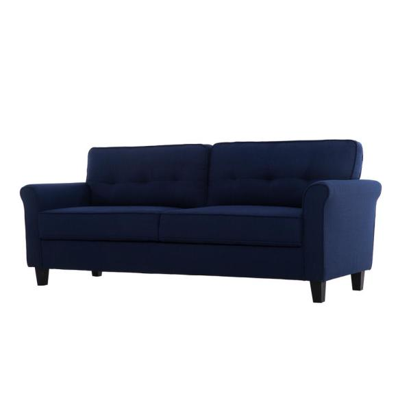 Lifestyle Solutions Harlem Blue Mid Century Modern 3-Seater Sofa ...