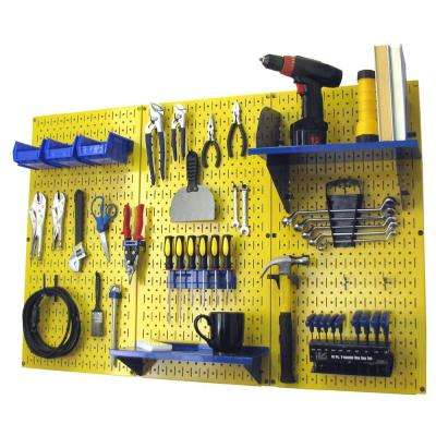 32 in. x 48 in. Metal Pegboard Standard Tool Storage Kit with Yellow Pegboard and Blue Peg Accessories
