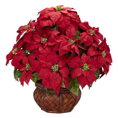 22in. H Red Poinsettia with Decorative Planter Silk Arrangement