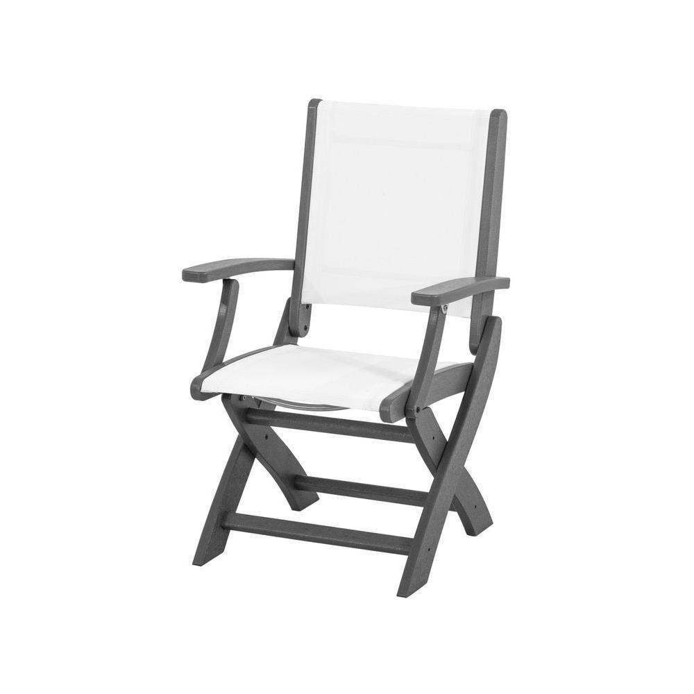 Coastal Slate Grey Patio Folding Chair with White Sling