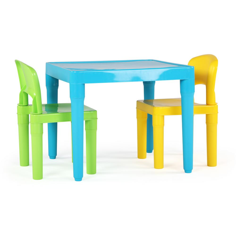 Playtime 3-Piece Aqua Kids Plastic Table and Chair Set