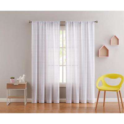 Rainbow Clipped Dot 84 in. x 50 in. White Window Curtain