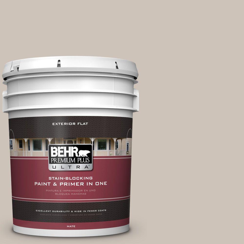 BEHR Premium Plus Ultra 5-gal. #ICC-89 Gallery Taupe Flat Exterior Paint