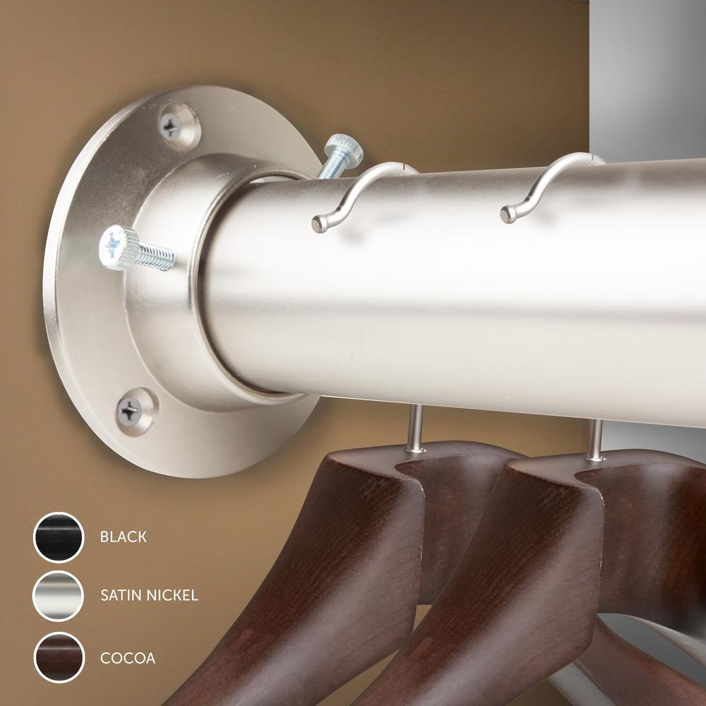 Satin Nickel Rod Desyne 1.5 Premium Heavy Duty Adjustable Closet Rod with Socket Set 48 x 84