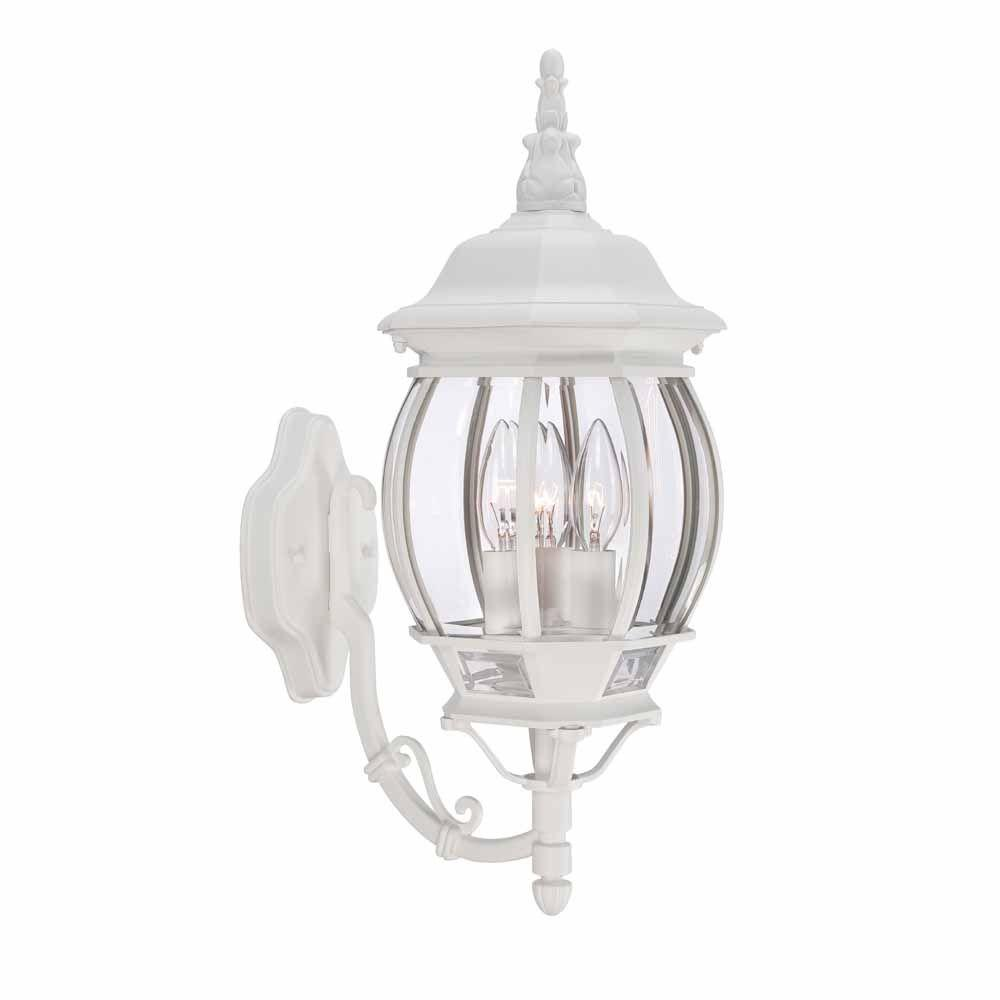 Hampton bay 3 light white outdoor wall lantern hb7028 06 the home hampton bay 3 light white outdoor wall lantern mozeypictures Images