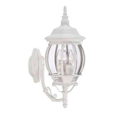 3 Light White Outdoor Wall Lantern