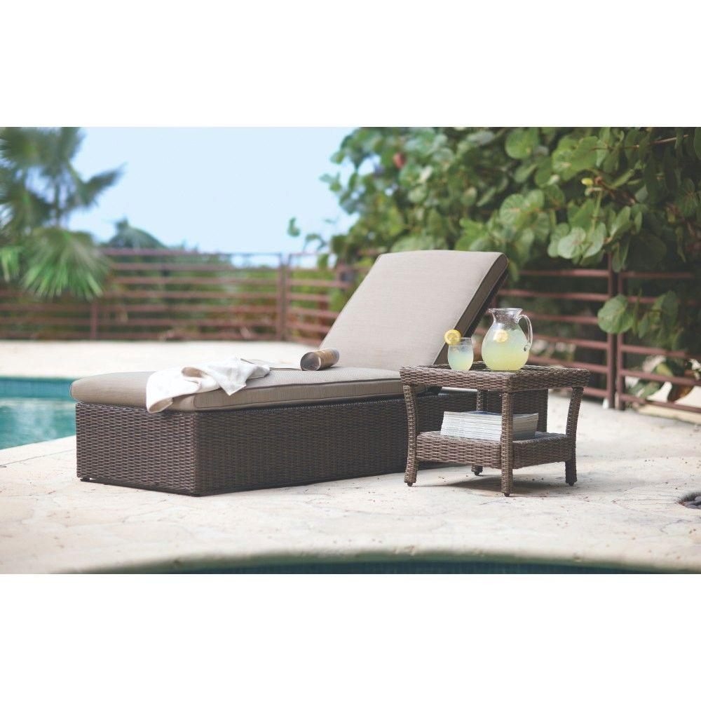 Home Decorators Collection Naples Brown All-Weather Wicker Outdoor Chaise Lounge with Putty Cushions