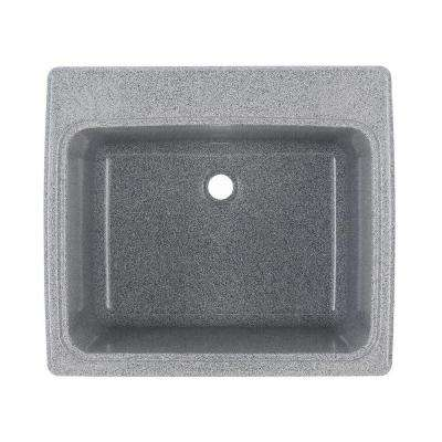 25 in. x 22 in. x 13.6 in. Solid Surface Undermount Utility Sink in Grey Granite