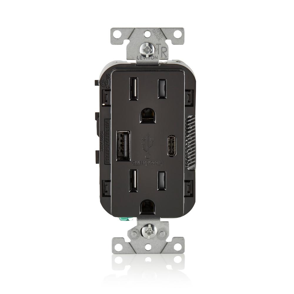 Leviton 15 Amp Decora Type A and C USB Charger Tamper-Resistant ...