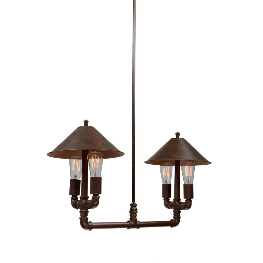 4-Light Authentic Rust Chandelier