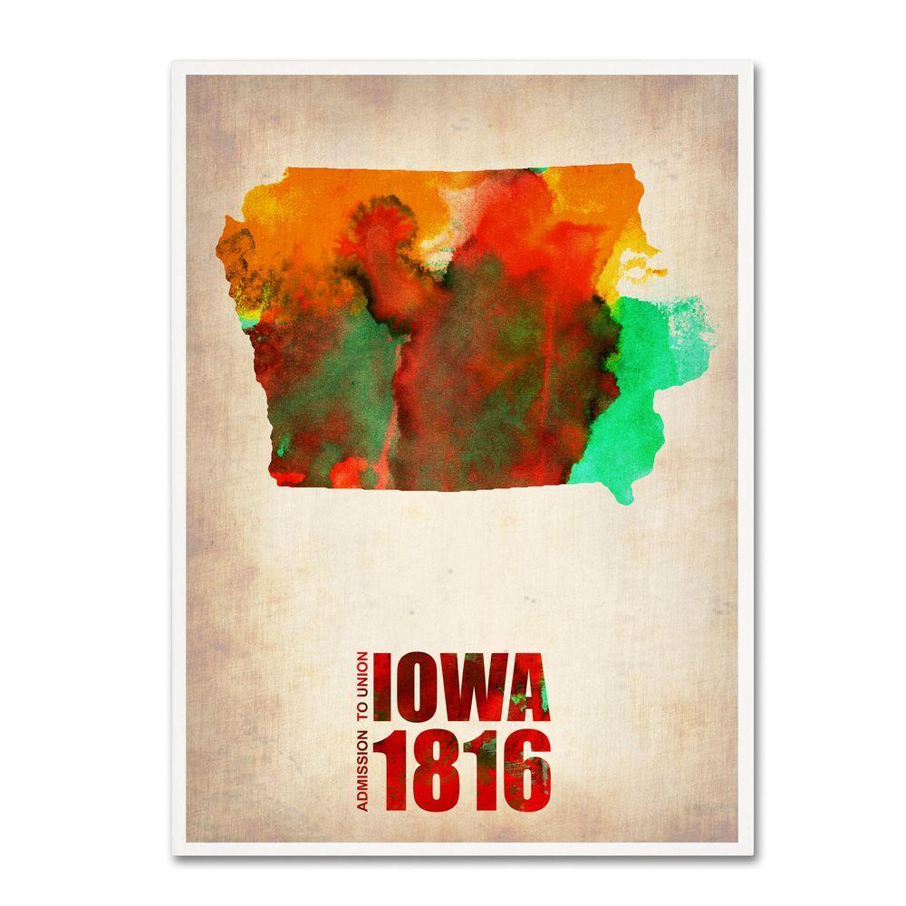 24 in. x 18 in. Iowa Watercolor Map Canvas Art