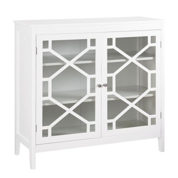 Large White Two Door Wooden Cabinet with Three Storage Compartments 15'' L x 38'' W x 36'' H