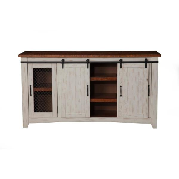 Antique White /& Aged Distressed Pine Martin Svensson Home Taos 70 TV Stand