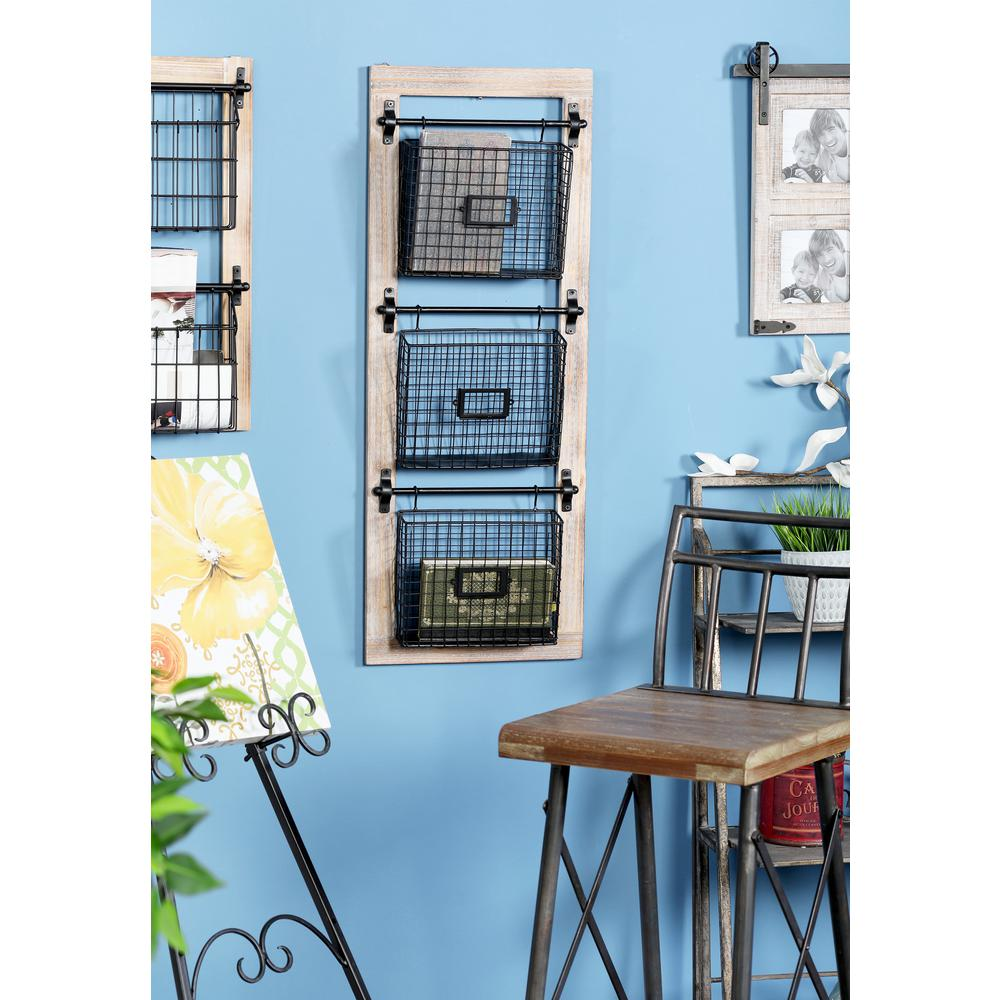Black Iron 3-Tier Basket Wall Rack