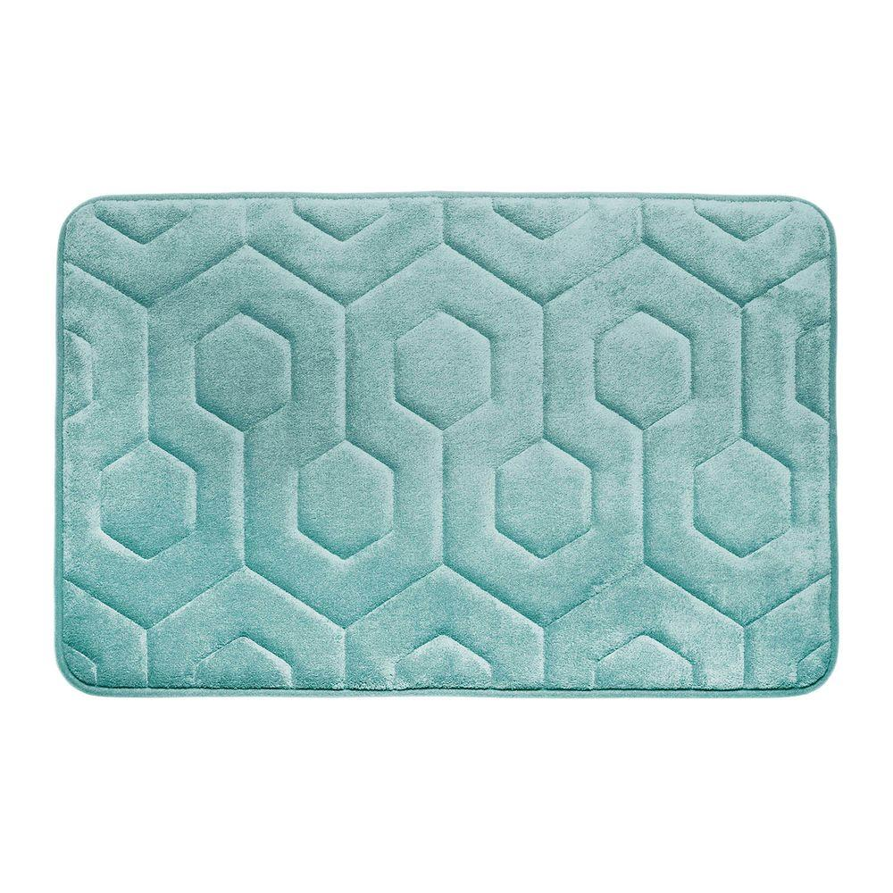 Hexagon Aqua 17 in. x 24 in. Memory Foam Bath Mat