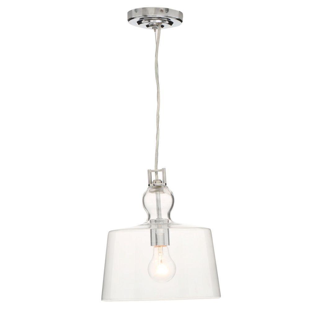 Home Decorators Collection 1-Light Clear Glass Ceiling Bowl Pendant