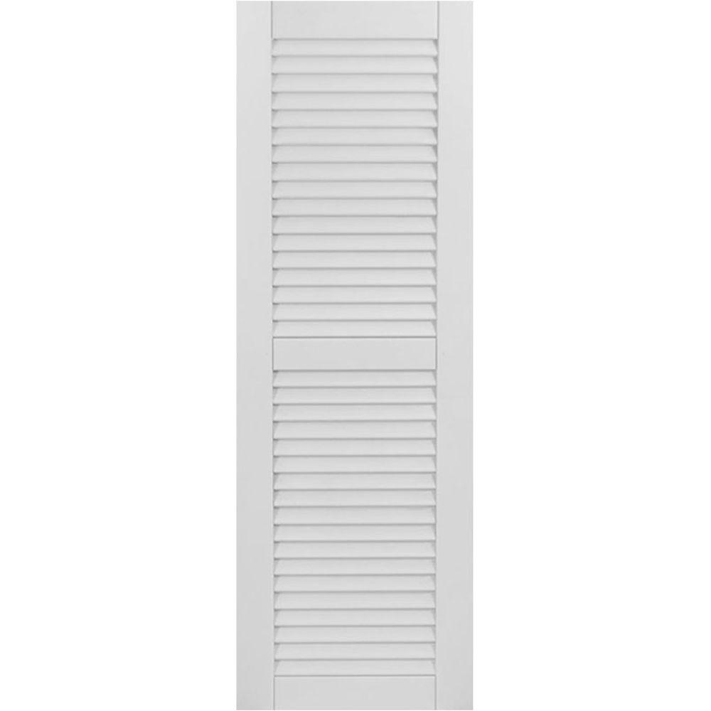 Ekena Millwork 12 in. x 59 in. Exterior Composite Wood Louvered Shutters Pair Primed
