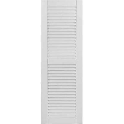 18 in. x 39 in. Exterior Composite Wood Louvered Shutters Pair Primed