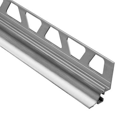Dilex-AHKA Brushed Chrome Anodized Aluminum 1/2 in. x 8 ft. 2-1/2 in. Metal Cove-Shaped Tile Edging Trim
