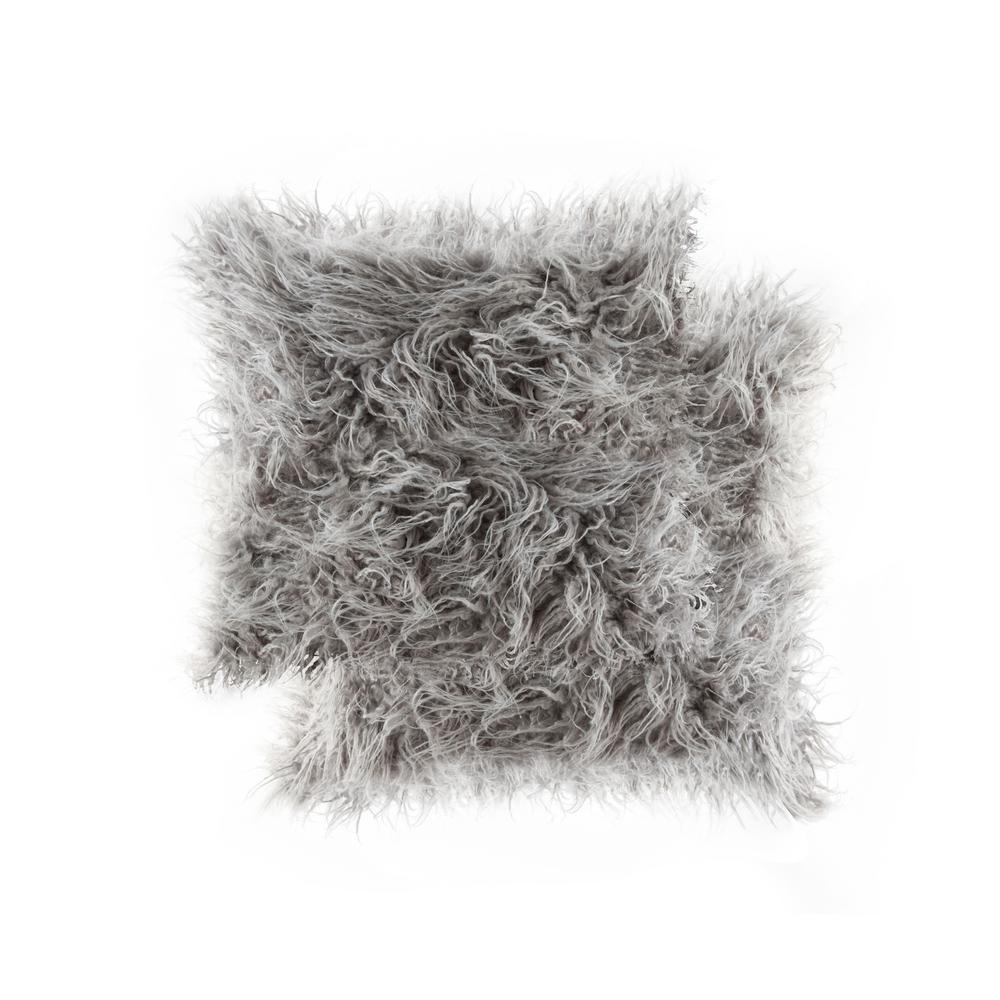 Frisco Mongolian Sage Grey 20 in. x 20 in. Faux Sheepskin Fur Pillow (2-Pack)