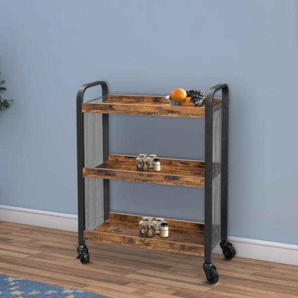 Brown and Black 3-Tier Wood and Metal Kitchen Cart with Mesh Side Panel