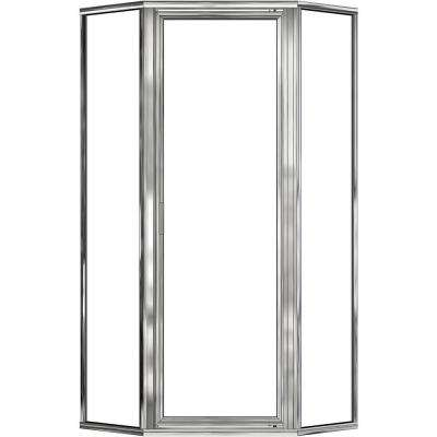 Deluxe 23-7/8 in. x 65-1/8 in. Framed Neo-Angle Shower Door in Silver
