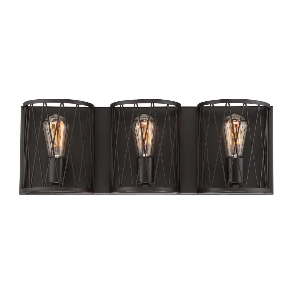 Designers fountain arris 3 light vintage bronze interior - Chapter 3 light bar bathroom light ...